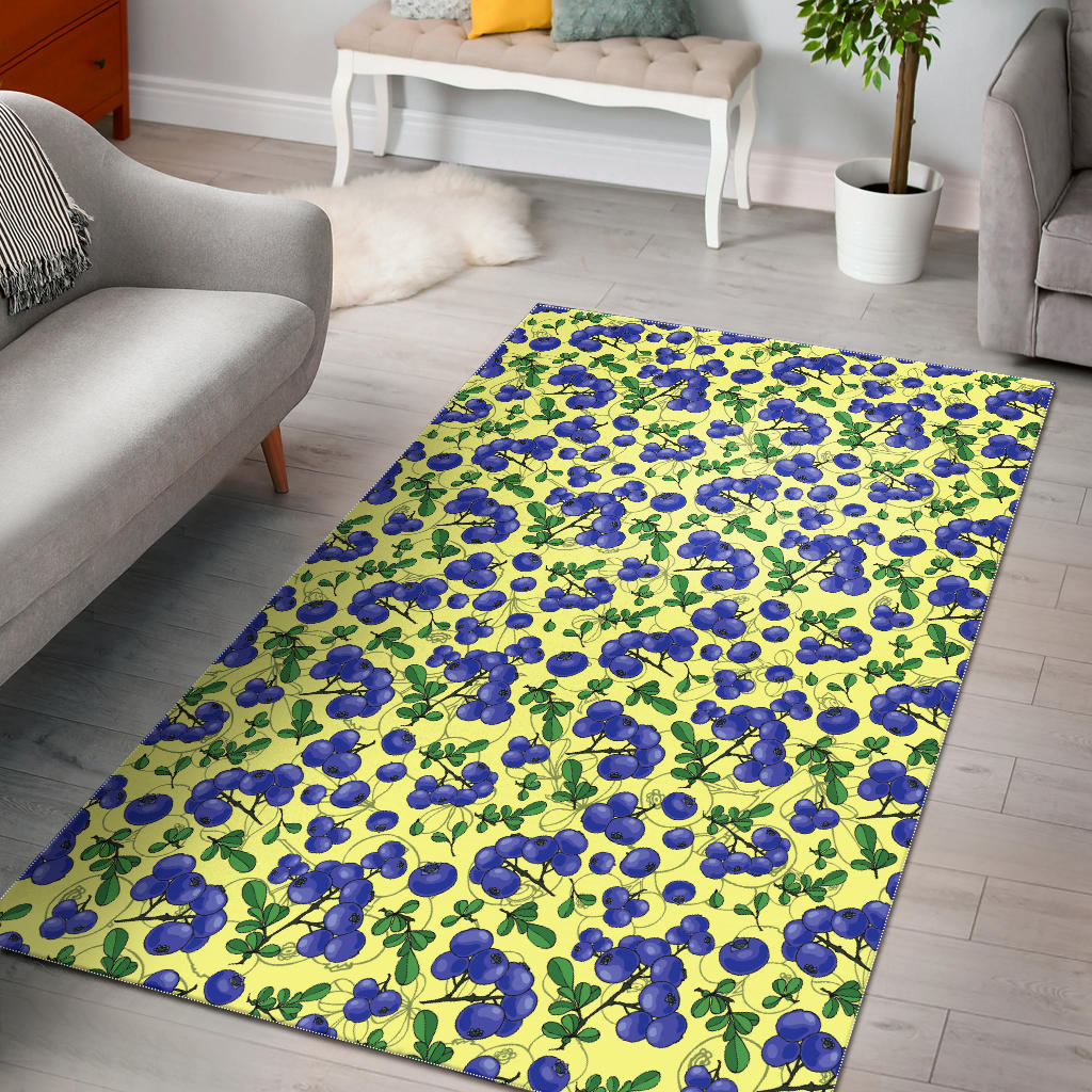 Blueberry Leaves Pattern Area Rug