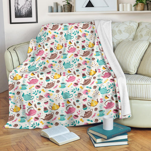 Tea pots Pattern Print Design 05 Premium Blanket