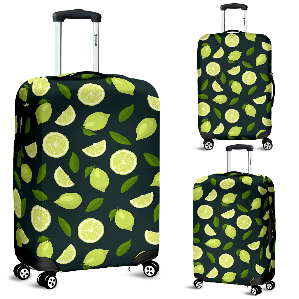 Lime Leaves Pattern Luggage Covers
