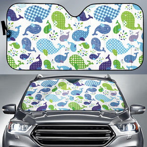 Whale Stripe Dot Pattern Car Sun Shade