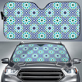 Blue Theme Arabic Morocco Pattern Car Sun Shade