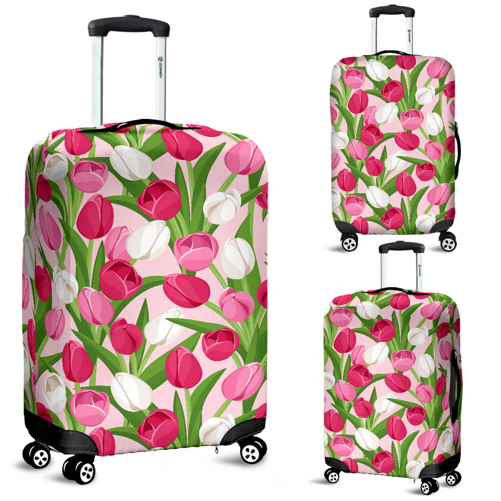 Pink White Tulip Pattern Luggage Covers