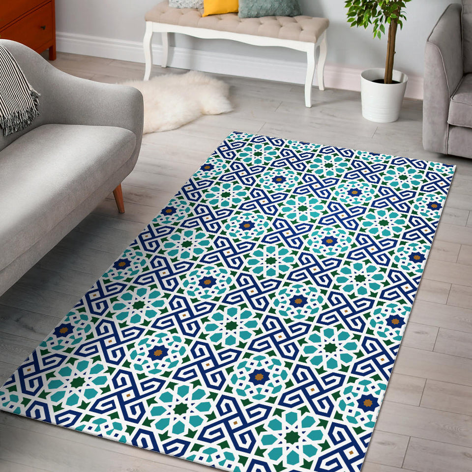 Blue Theme Arabic Morocco Pattern Area Rug