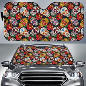 Suger Skull Pattern Background Car Sun Shade