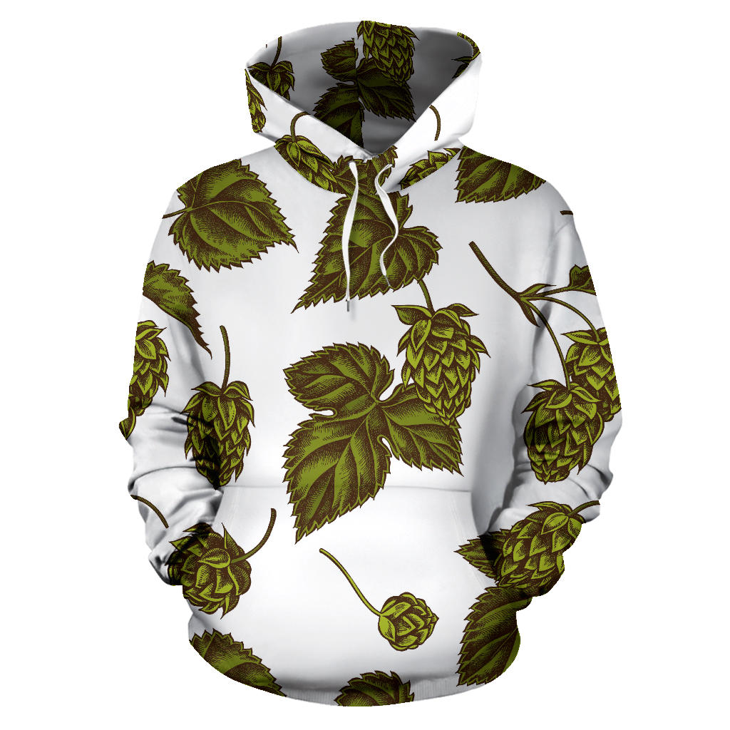 Hop Leaves Pattern Men Women Pullover Hoodie