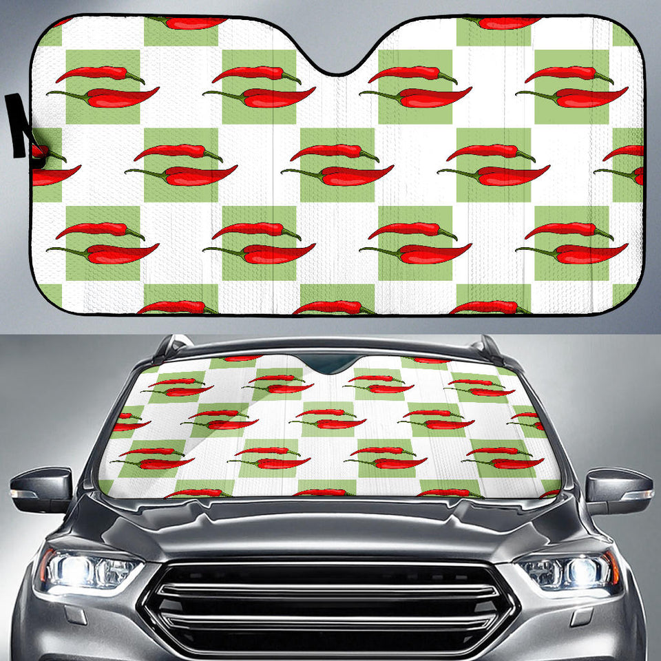 Red Chili Pattern Green White background Car Sun Shade