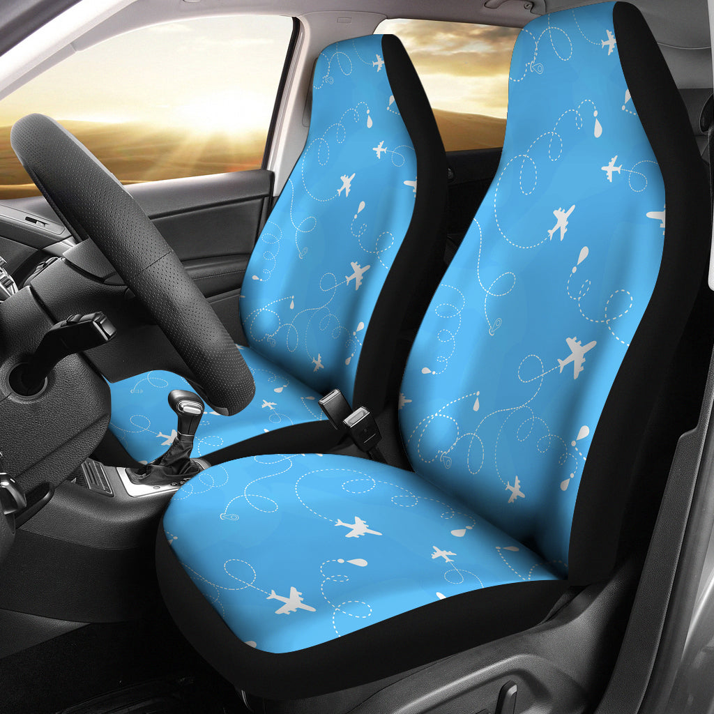Airplane Pattern Blue Backgroung Universal Fit Car Seat Covers