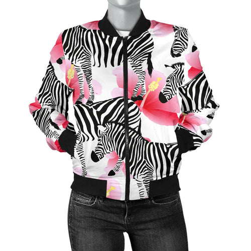 Zebra Red Hibiscus Pattern Women Bomber Jacket