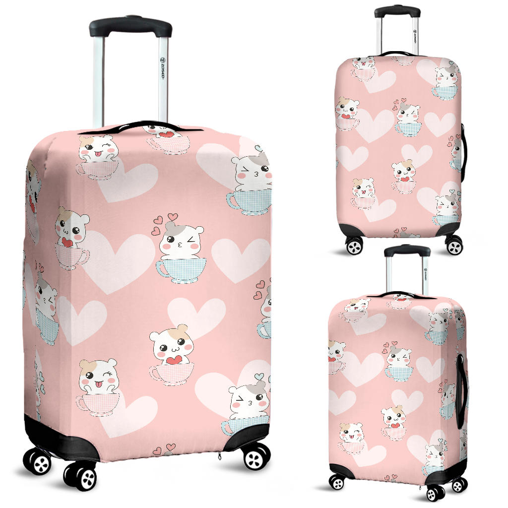 Hamster in Cup Heart Pattern Luggage Covers