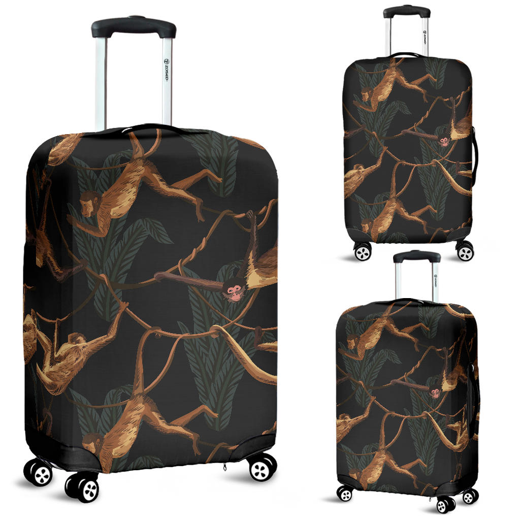 Monkey Pattern Black Background Luggage Covers