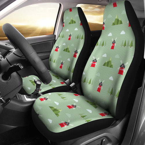 Windmill Green Pattern Universal Fit Car Seat Covers