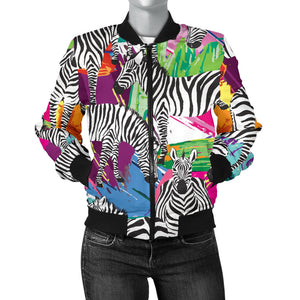 Zebra Colorful Pattern Women Bomber Jacket