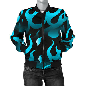 Blue Flame Fire Pattern Background Women Bomber Jacket