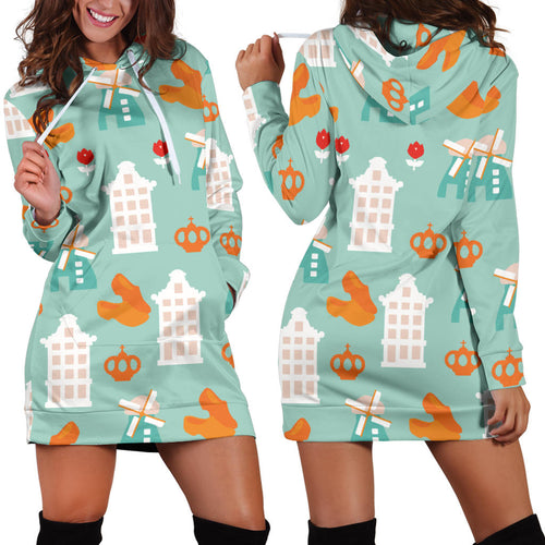 Windmill Pattern Theme Women Hoodie Dress