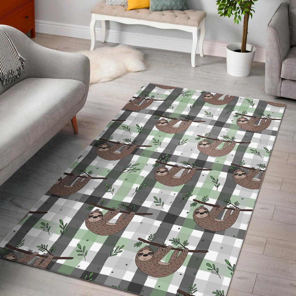 Sloth Pattern Stripe Background Area Rug