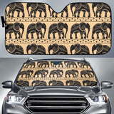 Elephant Pattern Ethnic Motifs Car Sun Shade