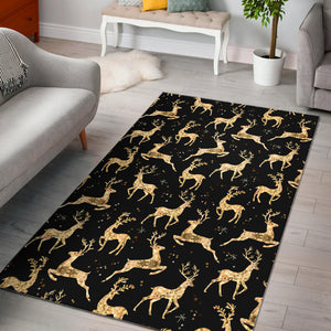 Gold Deer Pattern Area Rug