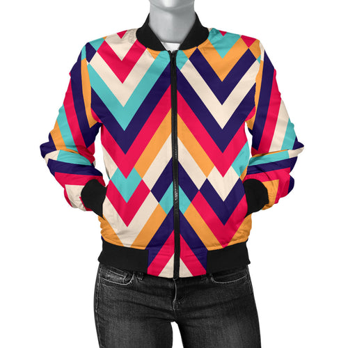 Zigzag Chevron Pattern Background Women Bomber Jacket