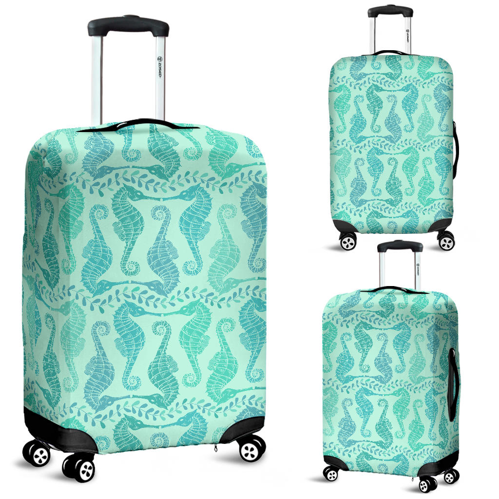 Seahorse Green Pattern Luggage Covers