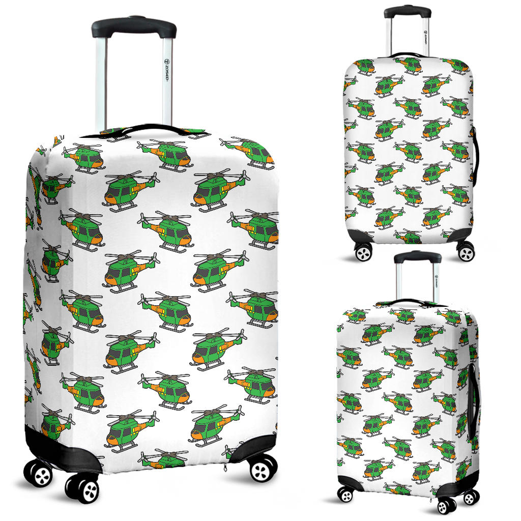 Green Amy Helicopter Pattern Luggage Covers