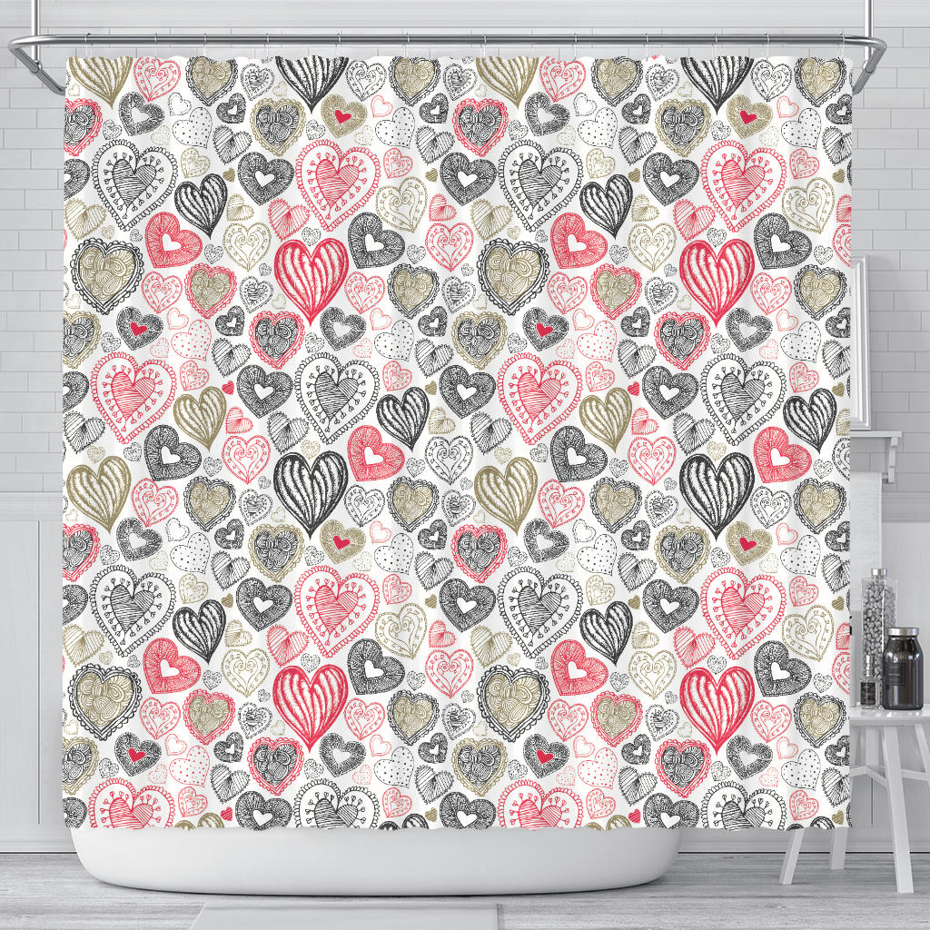 Heart Tribal Pattern Shower Curtain Fulfilled In US