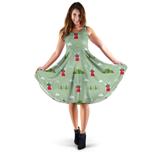 Windmill Green Pattern Sleeveless Midi Dress