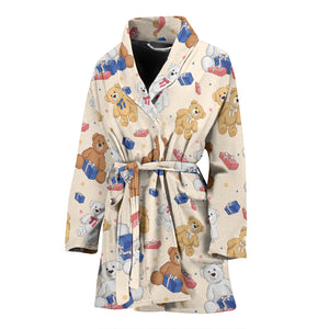 Teddy Bear Pattern Print Design 01 Women Bathrobe