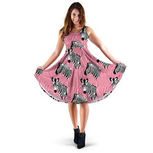 Zebra Head Pattern Sleeveless Midi Dress