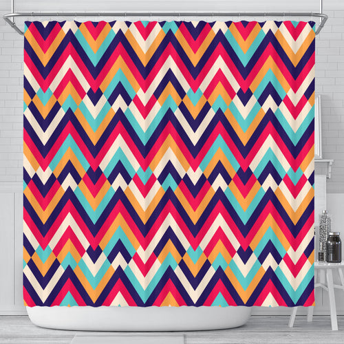Zigzag Chevron Pattern Background Shower Curtain Fulfilled In US