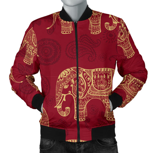Elephant Tribal Pattern Men Bomber Jacket