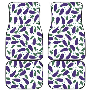 Eggplant Pattern Print Design 05 Front and Back Car Mats