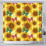 Sunflower Butterfly Pattern Shower Curtain Fulfilled In US