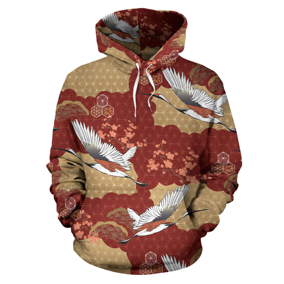 Japanese Crane Theme Pattern Pullover Hoodie