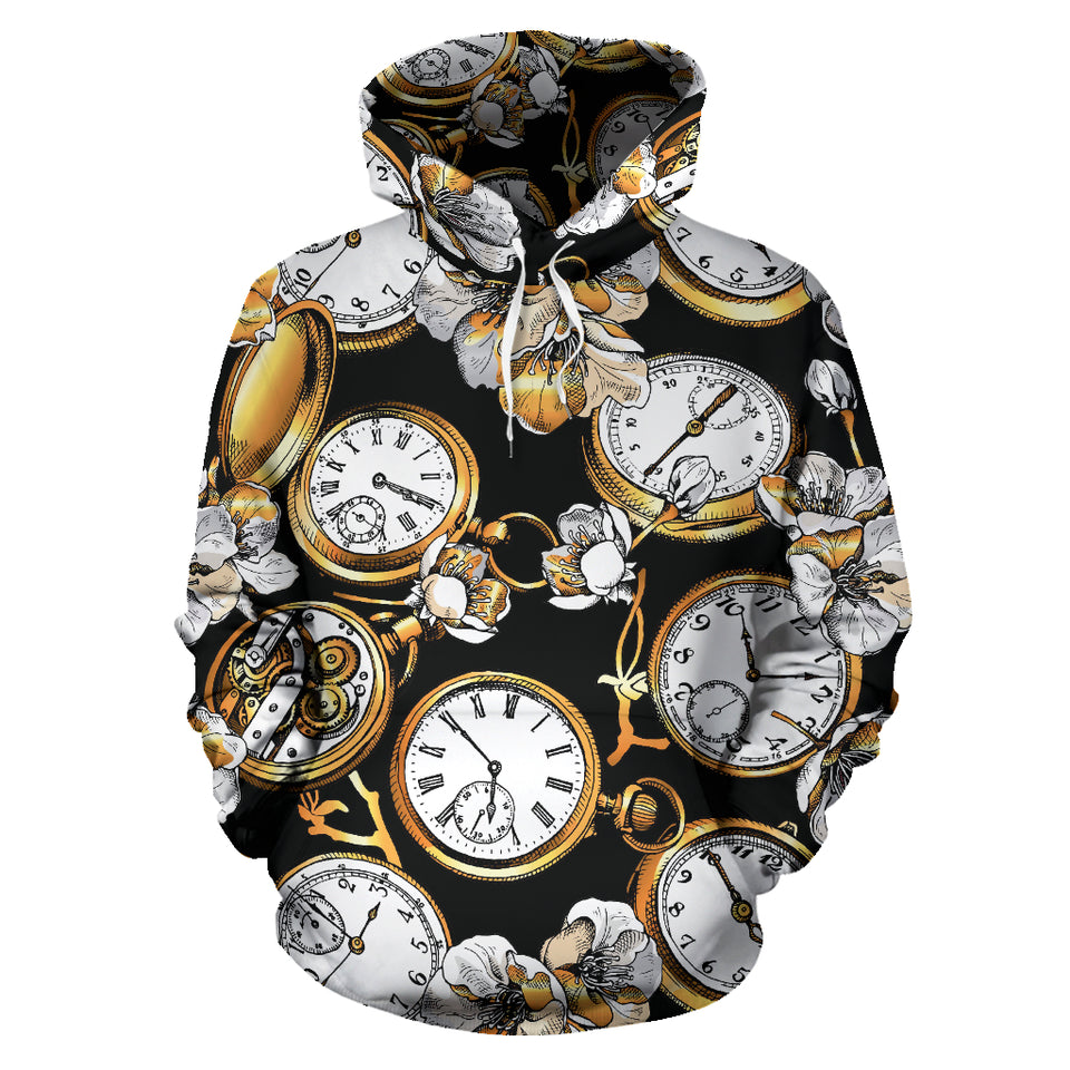 Clock Flower Pattern Men Women Pullover Hoodie