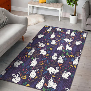 Rabbit Leaves Pattern Area Rug