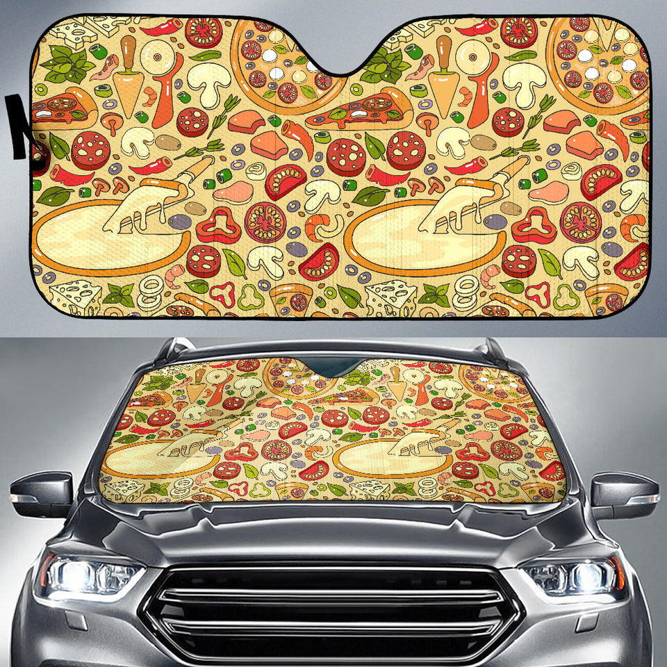 Pizza Pattern Background Car Sun Shade