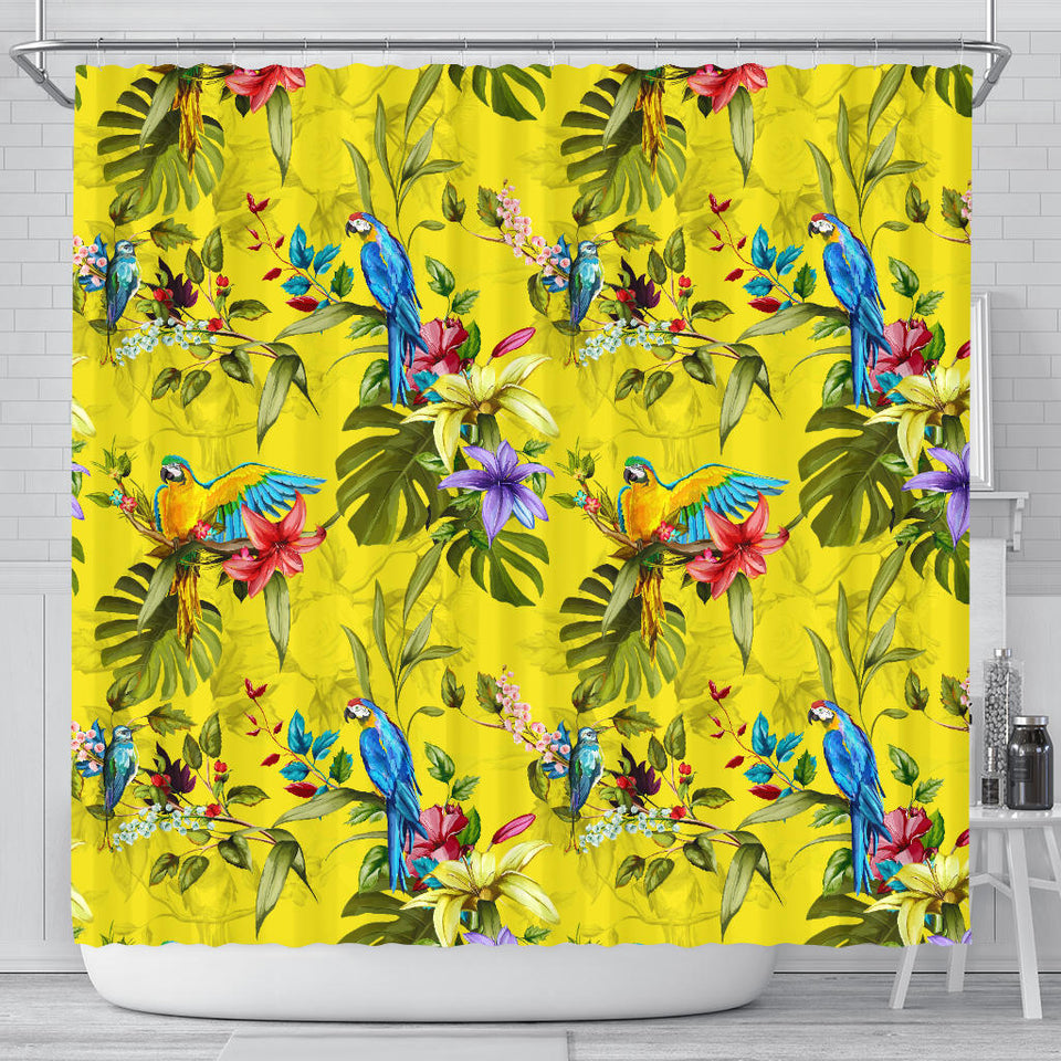 Colorful Parrot Pattern Shower Curtain Fulfilled In US
