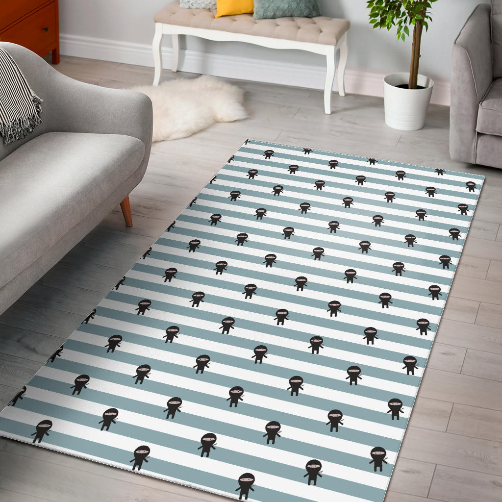 Ninja Pattern Stripe Background Area Rug
