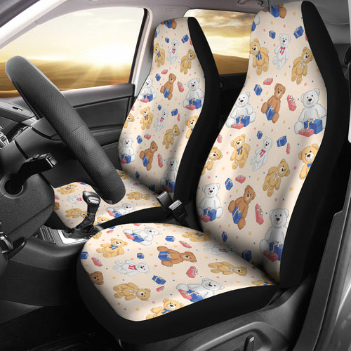 Teddy Bear Pattern Print Design 01 Universal Fit Car Seat Covers