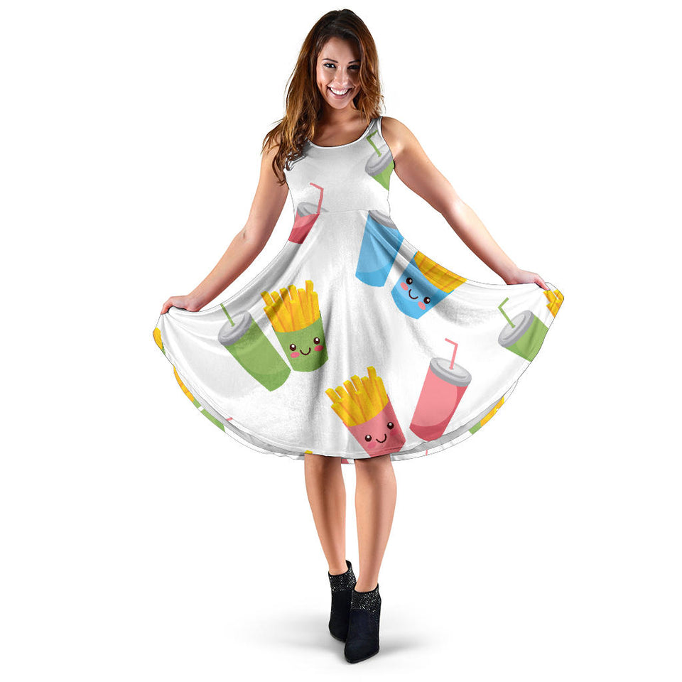 Colorful French Fries Pattern Sleeveless Midi Dress