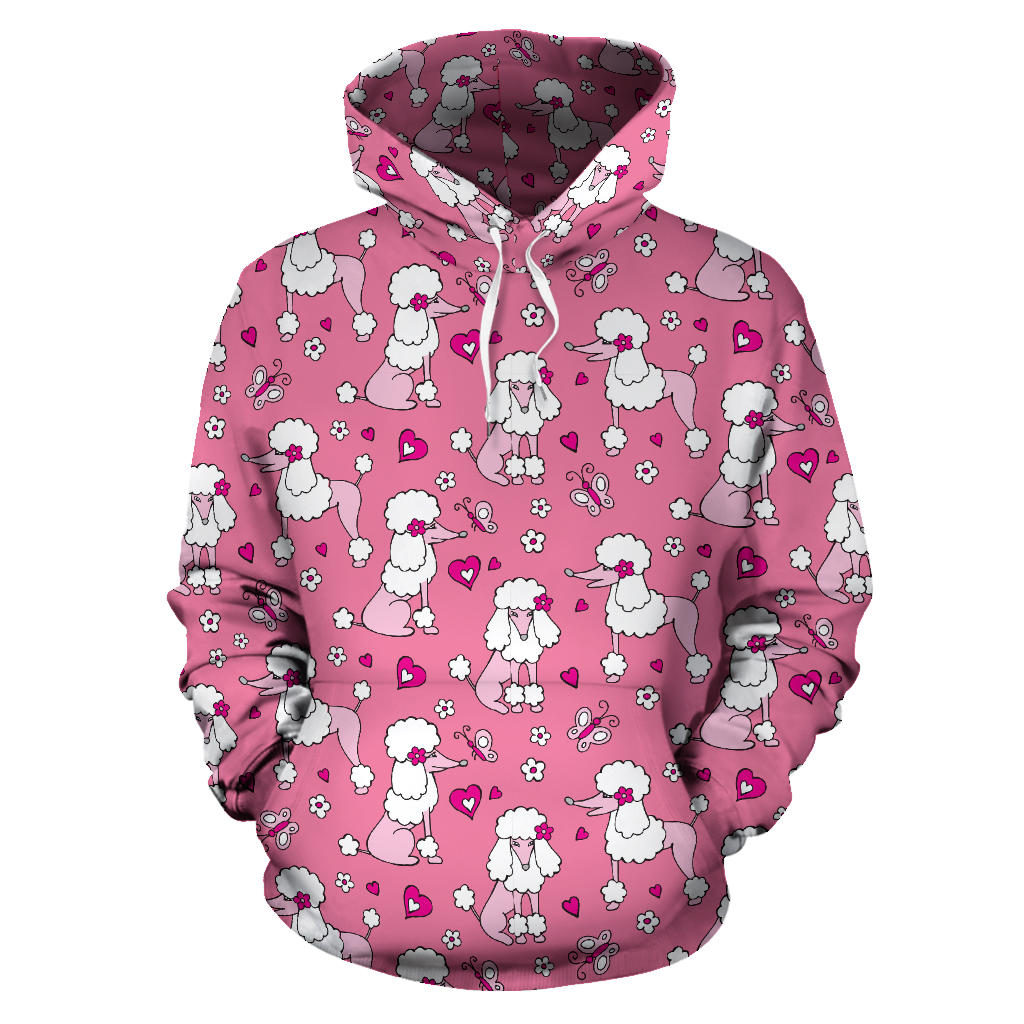 Poodle Pink Heart Pattern Pullover Hoodie
