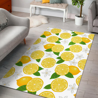 Lemon Flower Pattern Area Rug