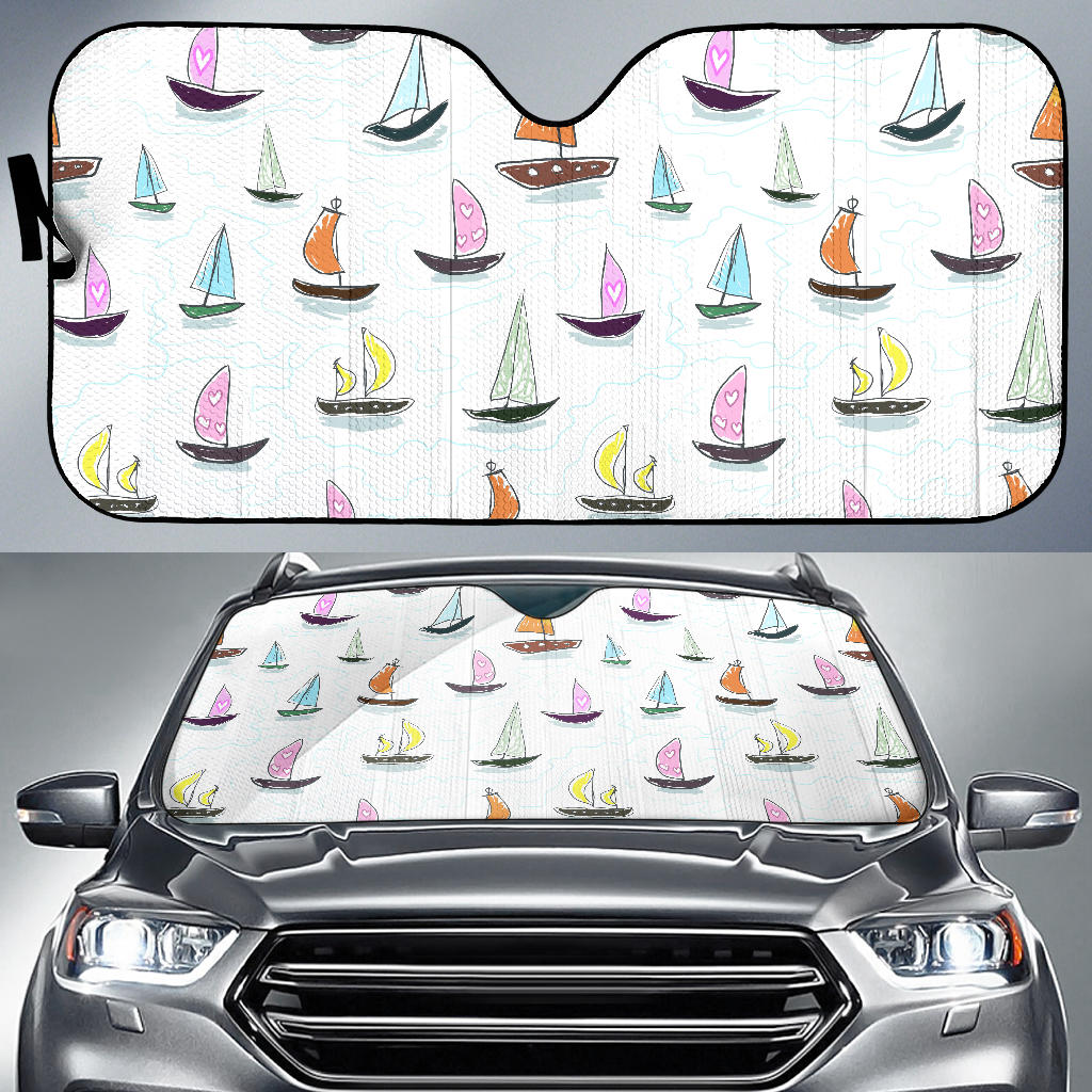 Cute Sailboat Pattern Car Sun Shade