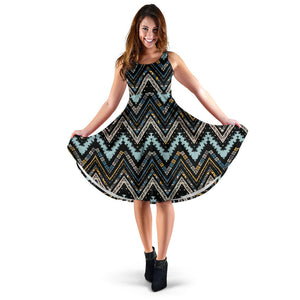 Zigzag Chevron African Afro Dashiki Adinkra Kente Sleeveless Midi Dress