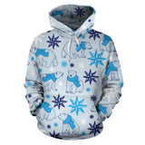 Polar Bear Pattern Blue Background Pullover Hoodie