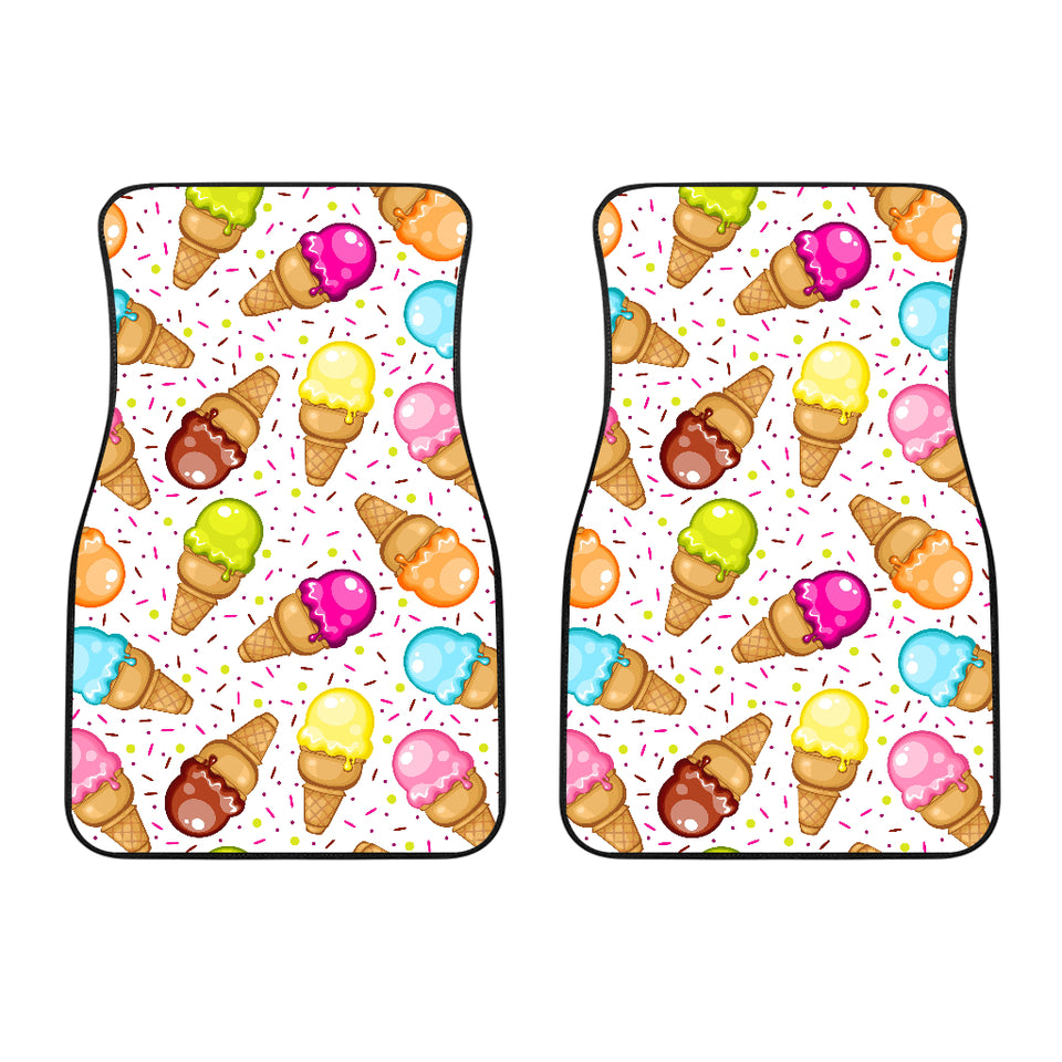 Color Ice Cream Cone Pattern Front Car Mats