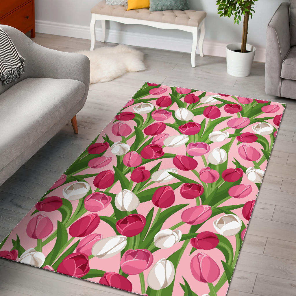 Pink White Tulip Pattern Area Rug