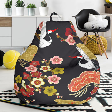 Japanese Crane Pattern Bean Bag Chair