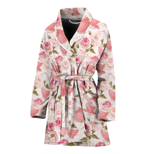 Tea pots Pattern Print Design 04 Women Bathrobe