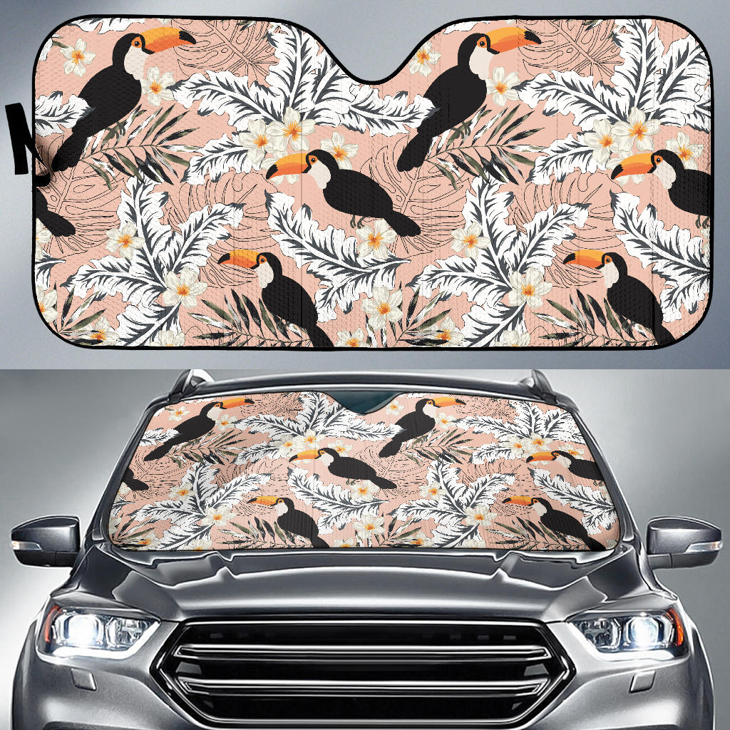 Toucan Theme Pattern Car Sun Shade
